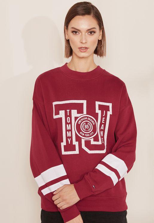 Striped Sleeve Logo Sweatshirt