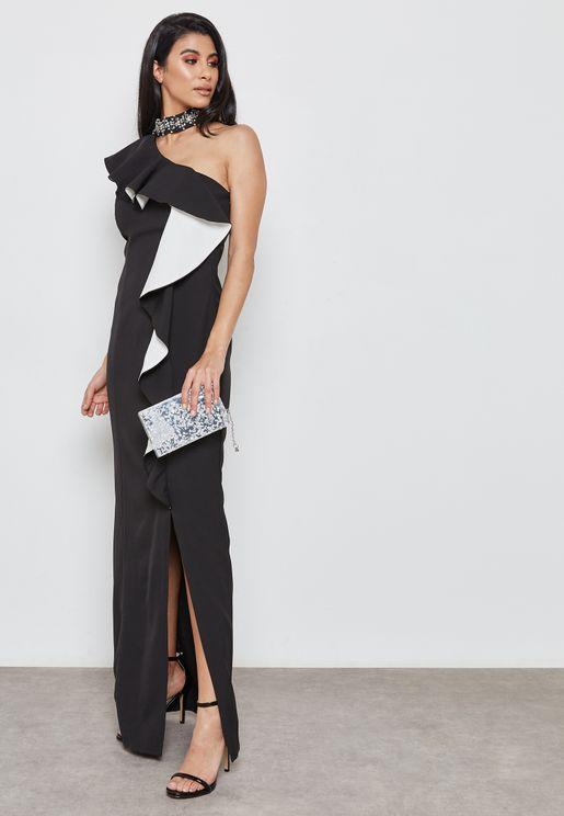 Choker Ruffle One Shoulder Dress