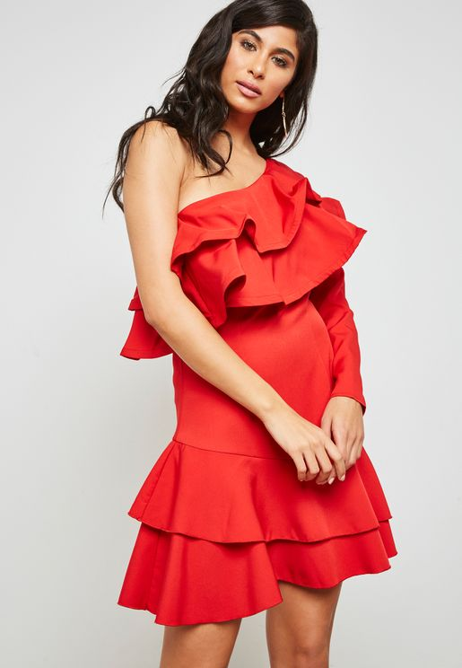 Ruffle Trim One Shoulder Dress