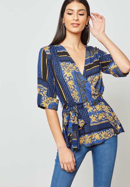 Chain Print Wrap Top