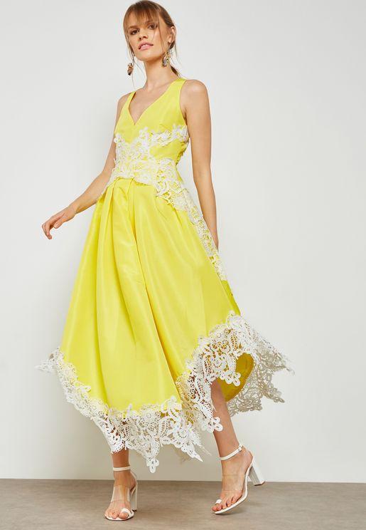Crochet Trim Flare Dress