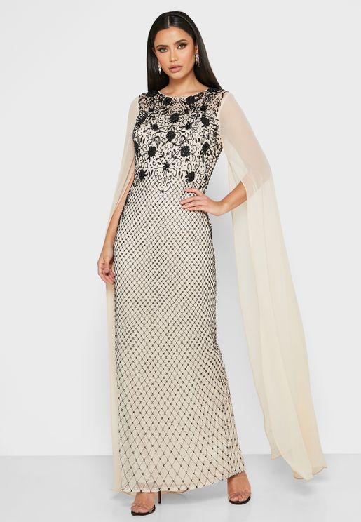 Embellished Dramatic Sleeve Dress