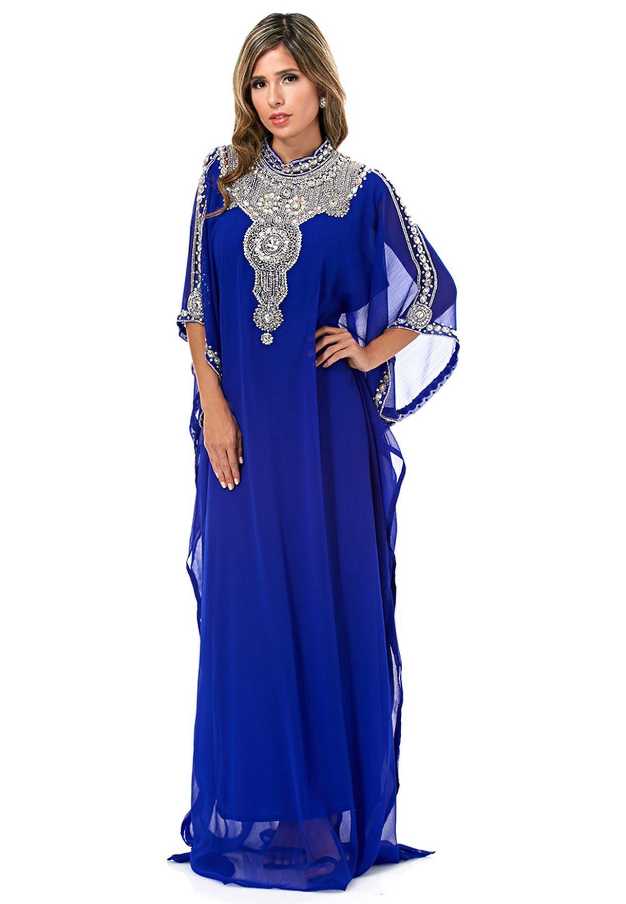 64c9e6c044ae8 تسوق جلابية مزخرفة ماركة هيا كلوزيت لون أزرق في السعودية - HA212AT10BOV