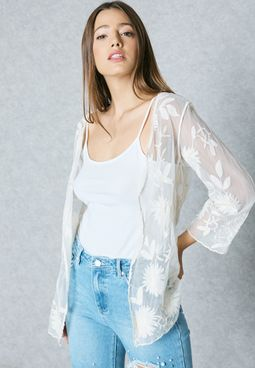 Embroidered Sheer Cardigan