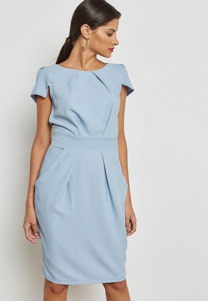 Pleated Tulip Skirt Dress