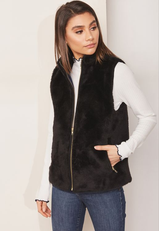 Fleece Zip Through Vest Jacket