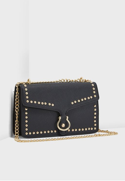 Flap Over Studded Crossbody