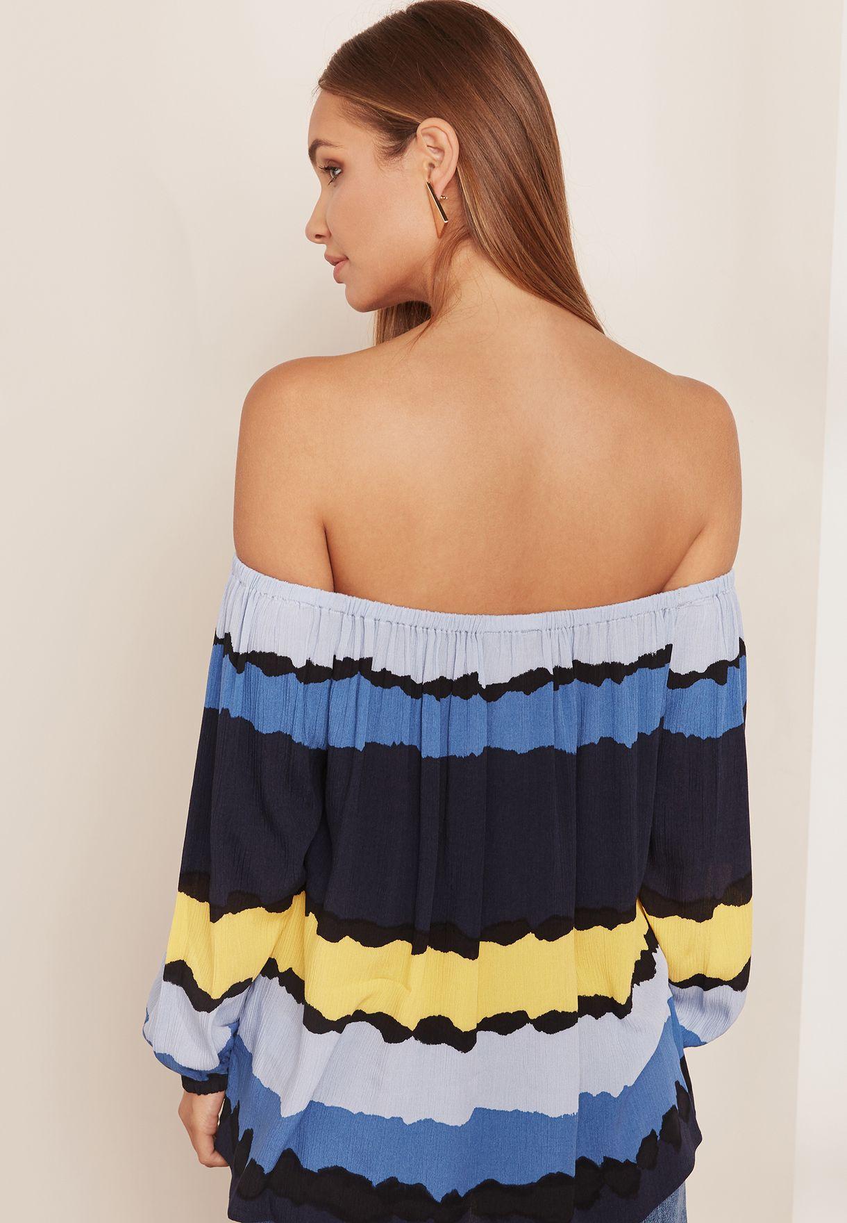 e77bb6a35 Shop Tommy Hilfiger prints Striped Bardot Top WW0WW22177 for Women ...