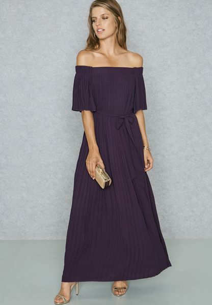 Pleated Bardot Self Tie Maxi Dress