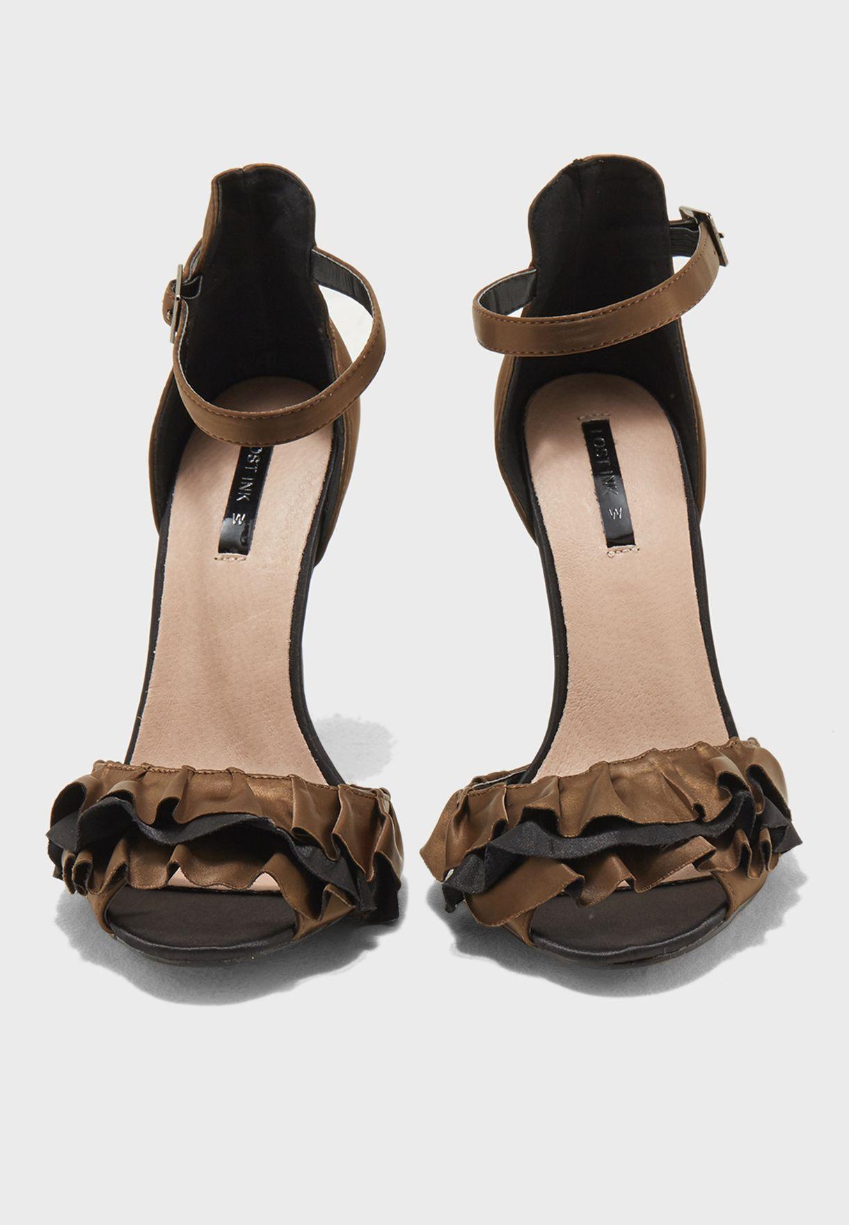 Ruffle Strap Heeled Sandal