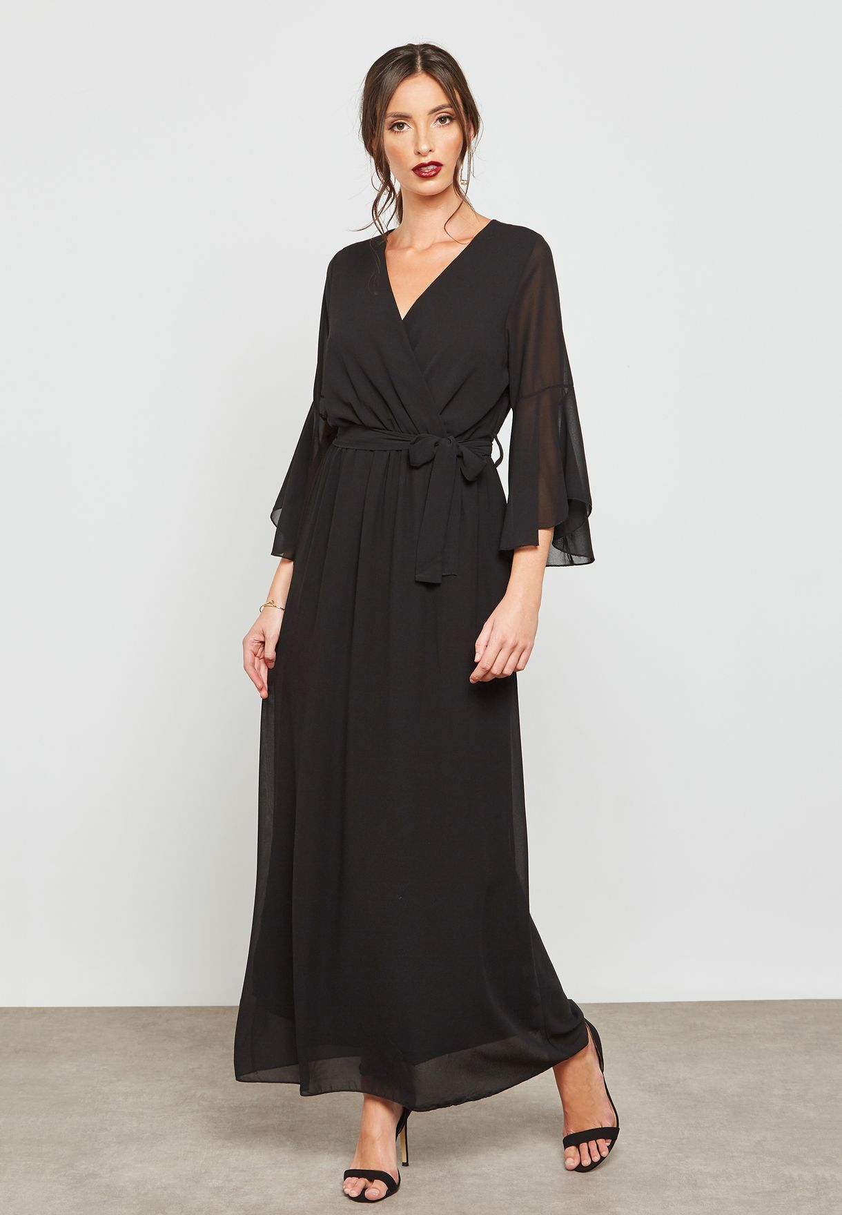 79021389b5a Shop Ella black Embroidered Dolman Sleeve Maxi Dress 7039(6974) for ...