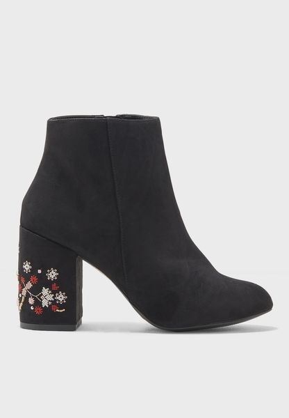 Evie Embroidered Heel Boot