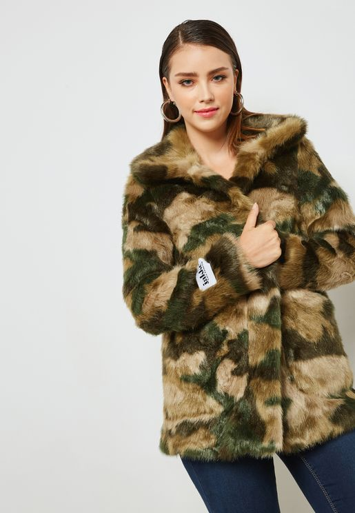 Camo Faux Fur Jacket