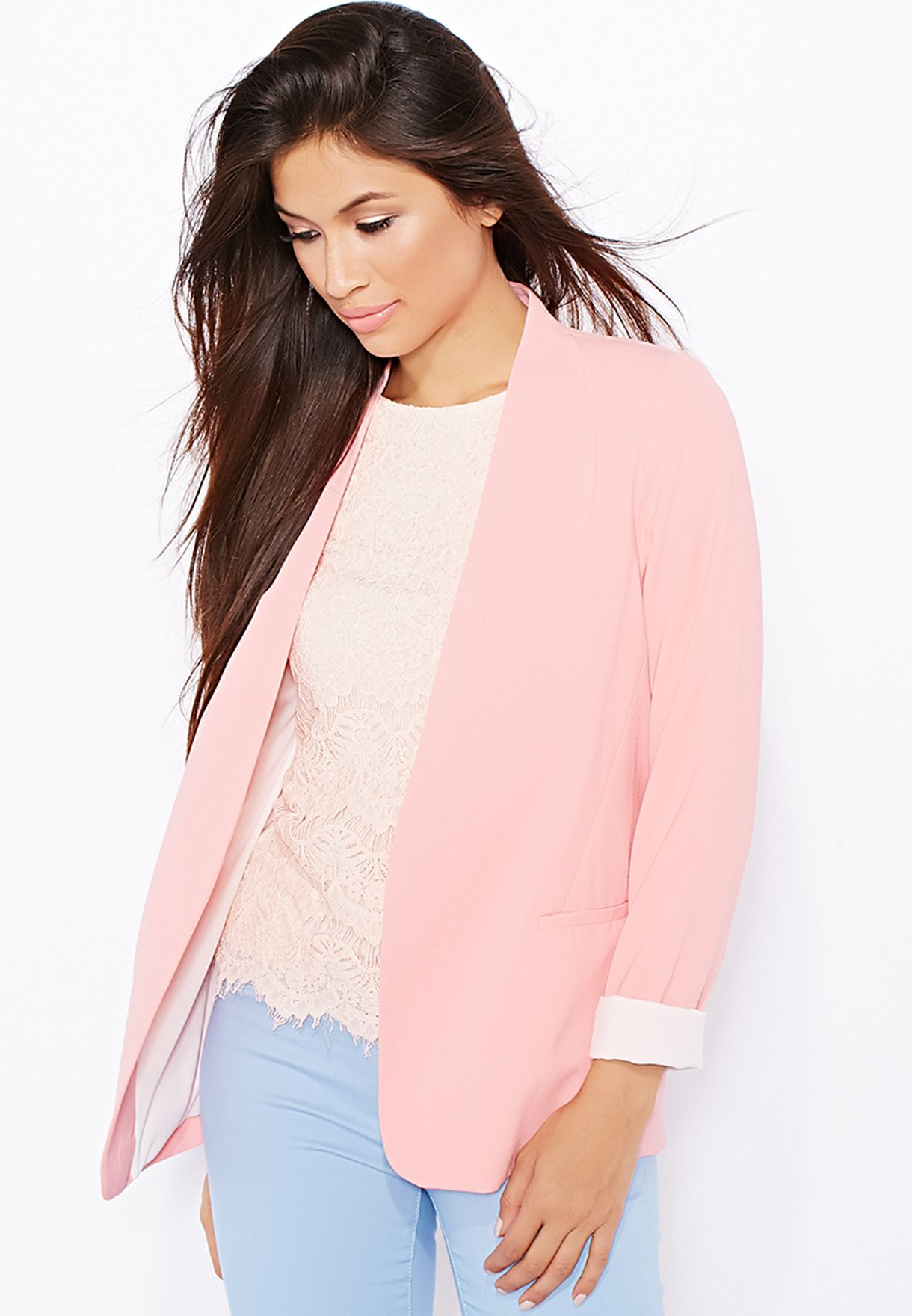 f56bee4b90ea9 Shop Dorothy Perkins pink Collarless Boyfriend Jacket 66802015 for ...