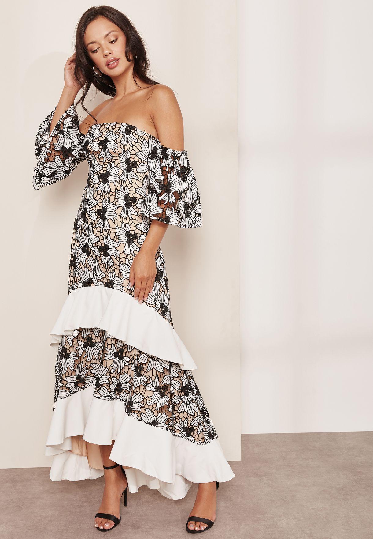 fd8e682fa2 Shop Keepsake monochrome Contrast Ruffle Bardot Lace Maxi Dress 3 ...