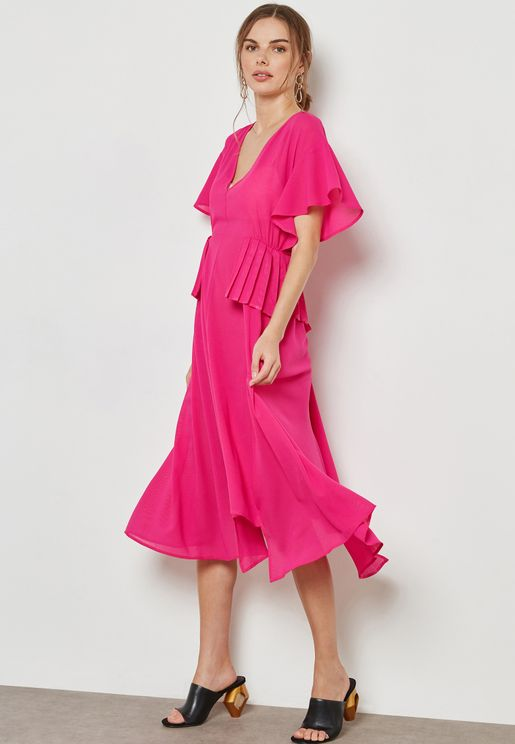 Pleat Waist Midi Dress