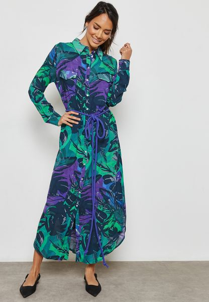 Tie Waist Printed Night Dress