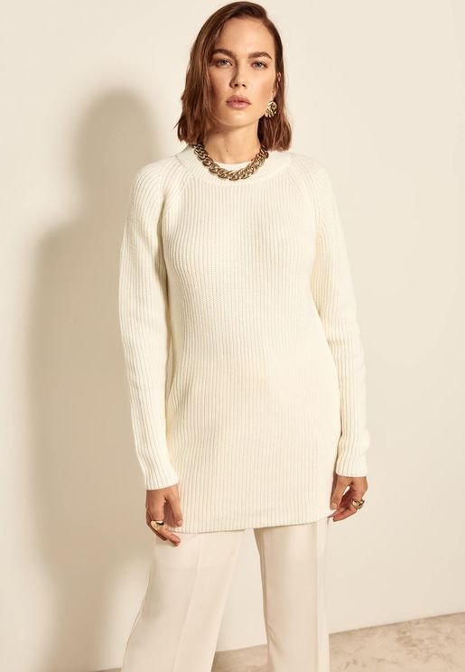 Back Cut-Out Knitted Sweater