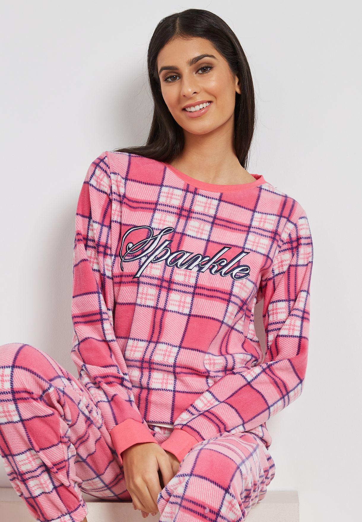 Slogan Checked Pyjama Set