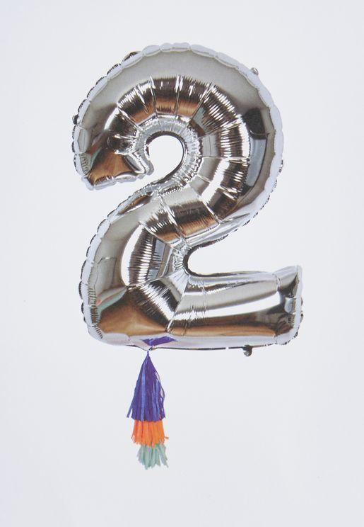 """بالون لامع يحمل رقم """"2"""""""