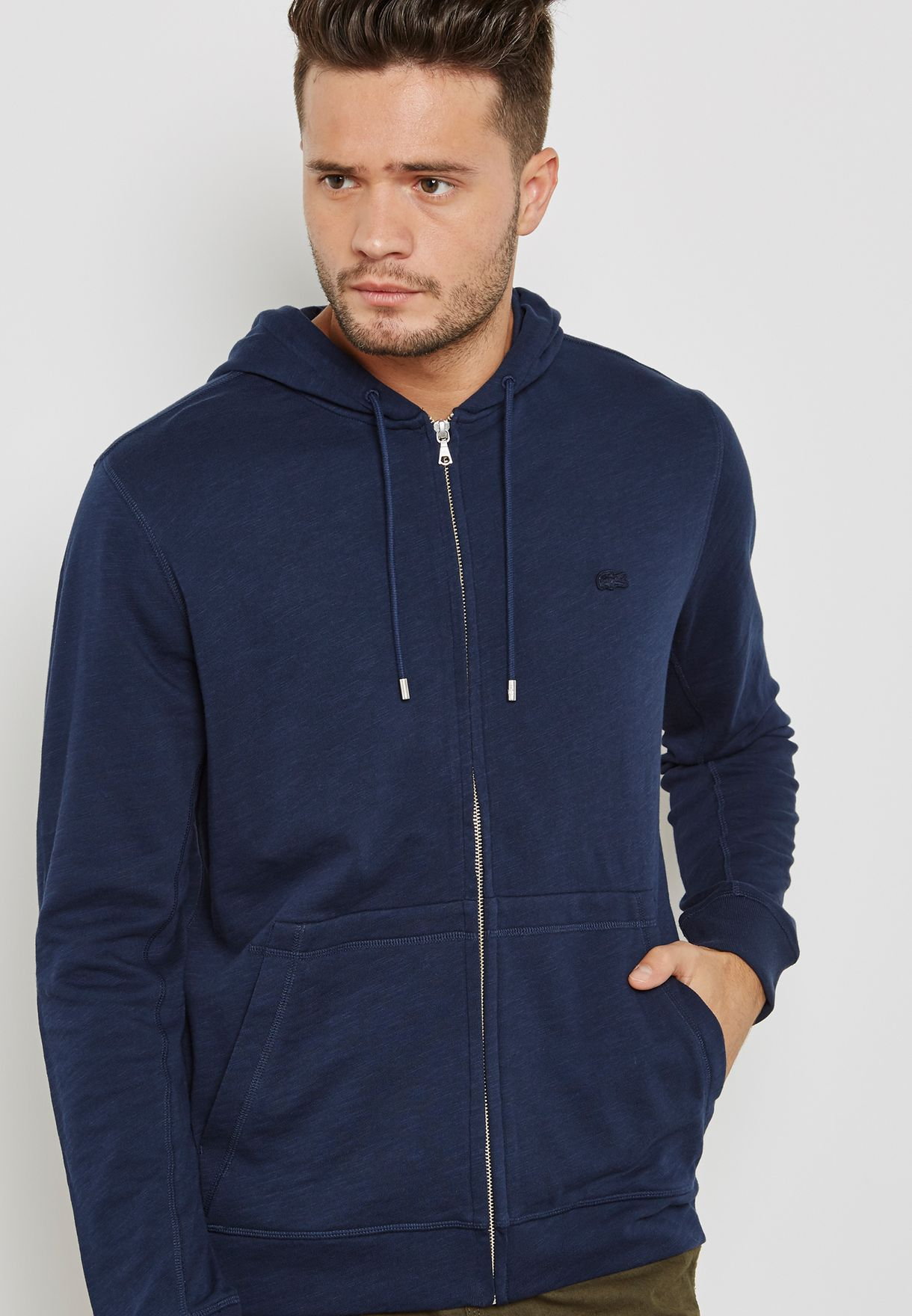 cced5add Shop Lacoste navy Zip Through Hoodie SH3305-166 for Men in UAE ...