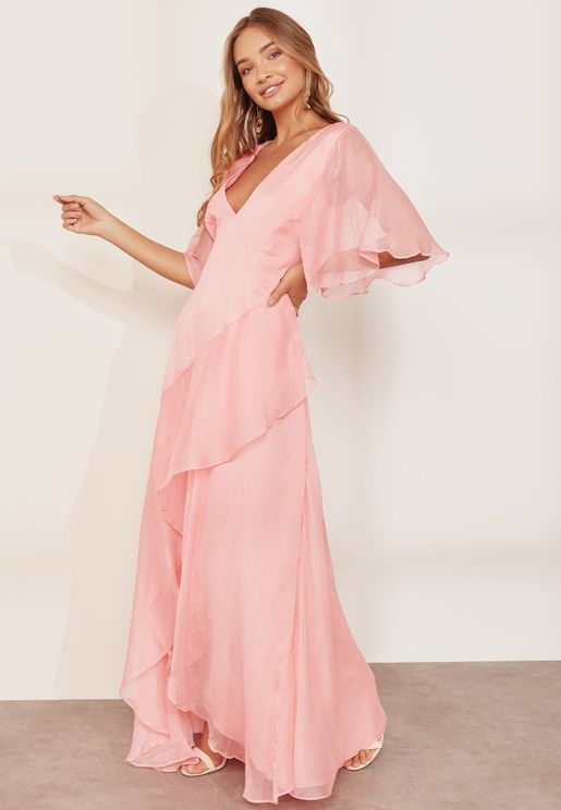 Genesis Asymmetric Ruffle Maxi Dress