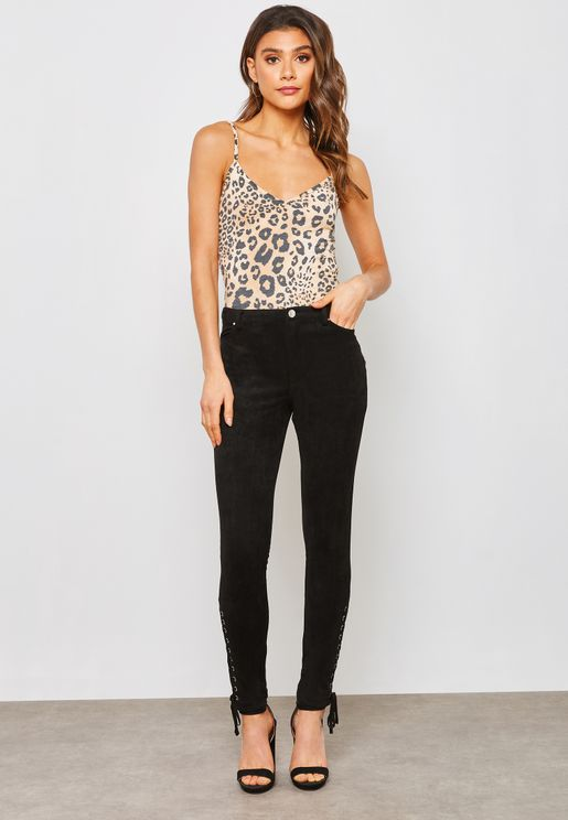 Lace Up Ankle Skinny Jeans