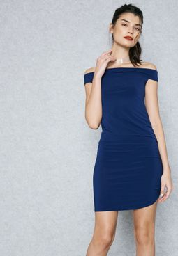 PETITE Ruched Bardot Dress