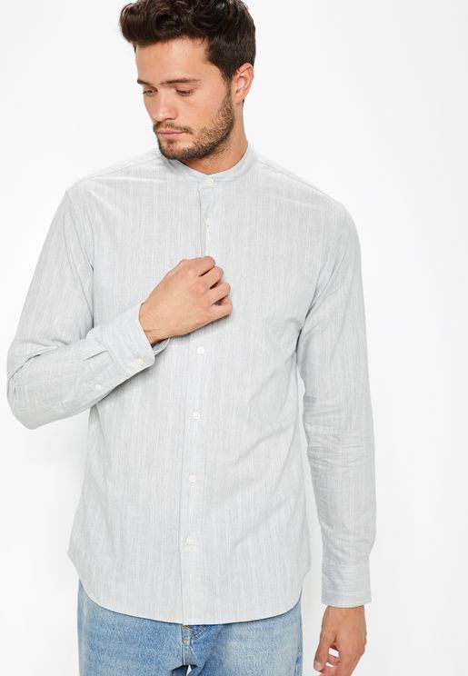 Striped Granded Collar Slim Fit Shirt