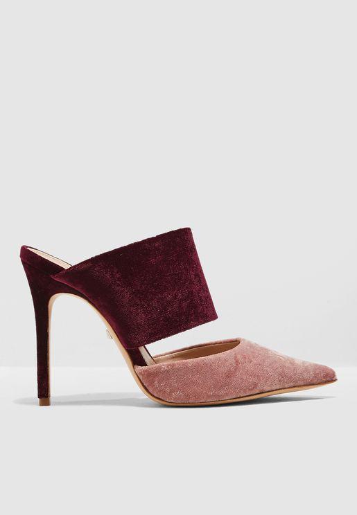 One Strap Velvet Court Shoe