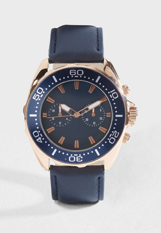 Faux Leather Strap Analogue Watch