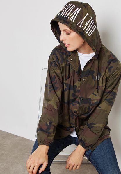 Longline Camo Print Jacket