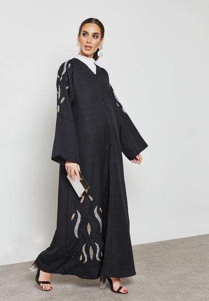 Embossed Look Embroidered Abaya