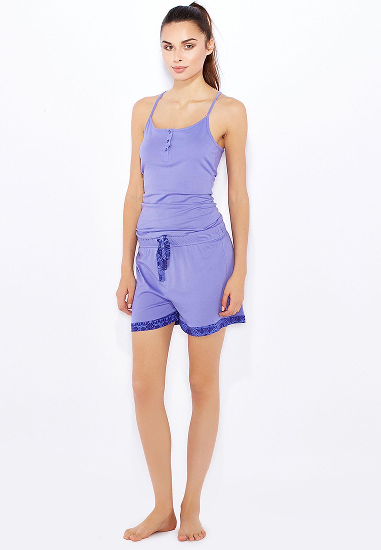 Tom Franks Ladies Printed Short and Vest Pyjama Lounge Set