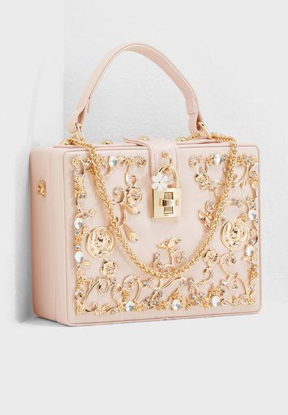 Embellished Top Handle Clutch