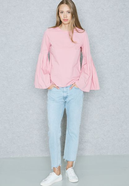 4e86ef0a0bcc4b 30%OFF Shop Vero moda pink Flute Sleeve Top 10190249 for Women in ...
