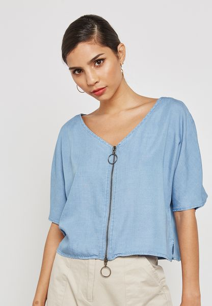 Zip Detail High Low T-Shirt