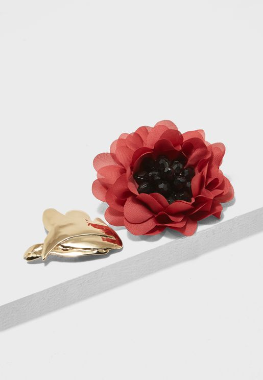 Metallic Flower Brooch