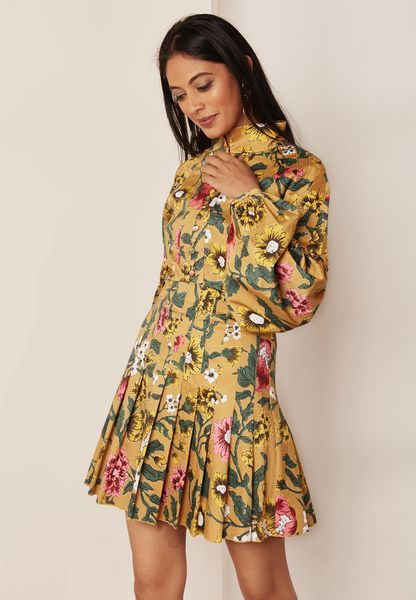 Floral Print Exaggerated Sleeve Dress