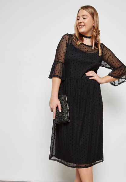 Polka Dot Mesh Flute Sleeve Dress