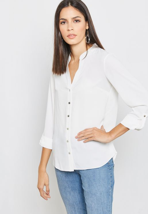 Side Pocket Roll Sleeves Shirt