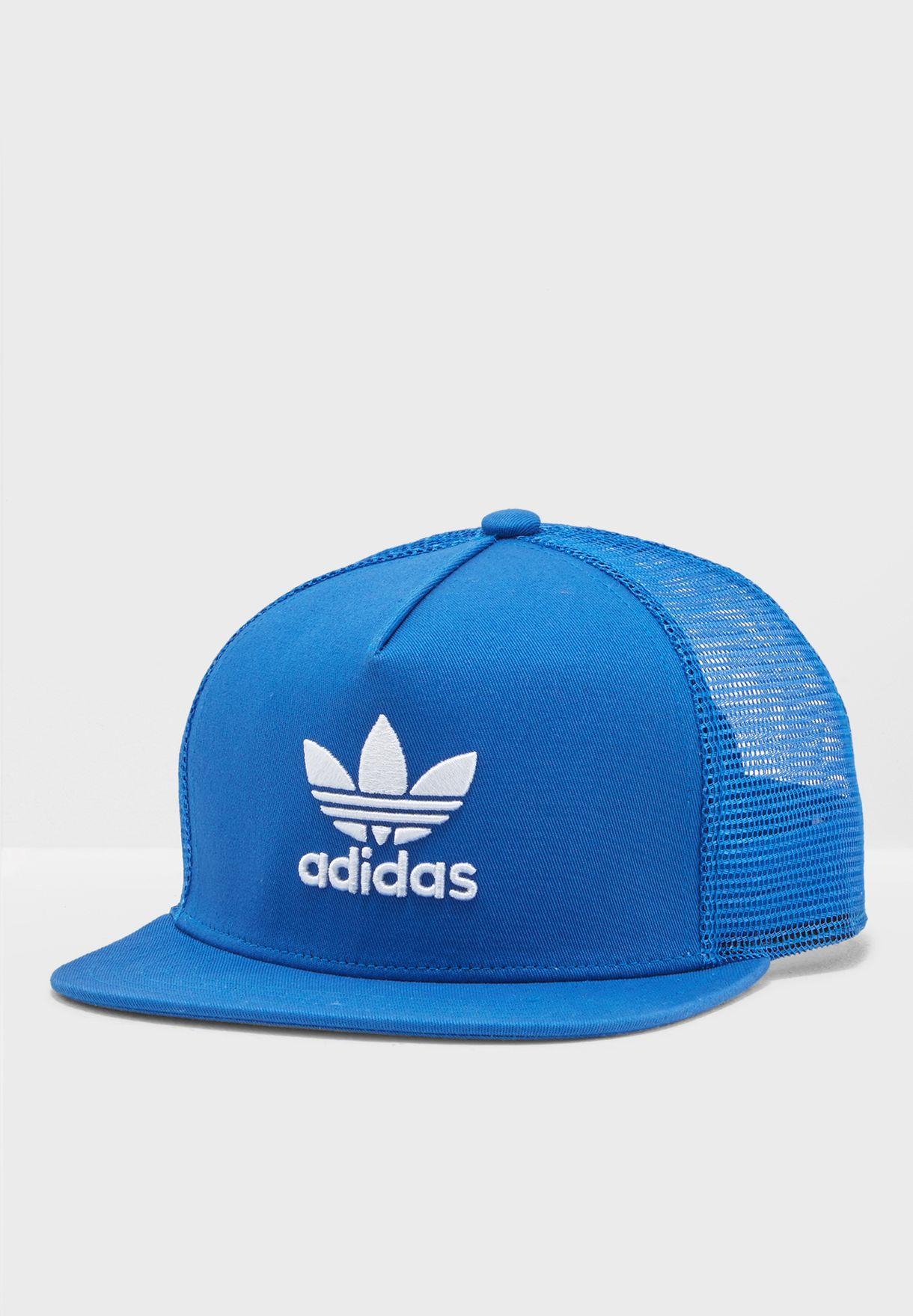 e6d2ea3d004 Shop adidas Originals blue Trefoil Trucker Cap DM7642 for Men in ...