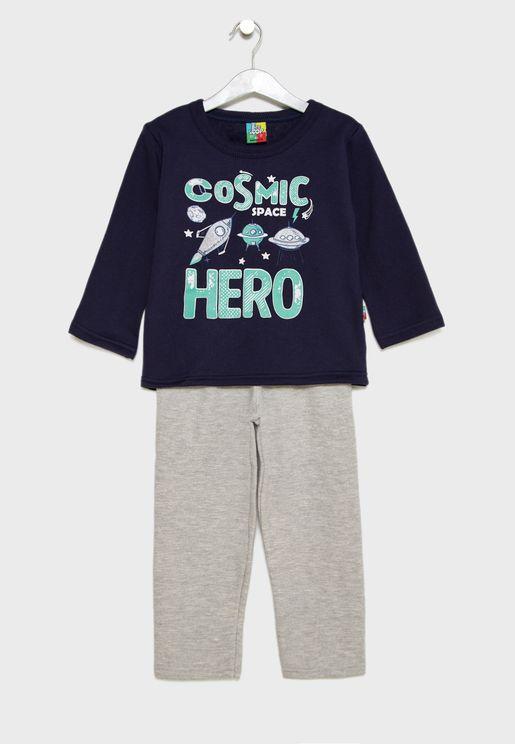 Little Graphic Sweatshirt + Sweatpants Set