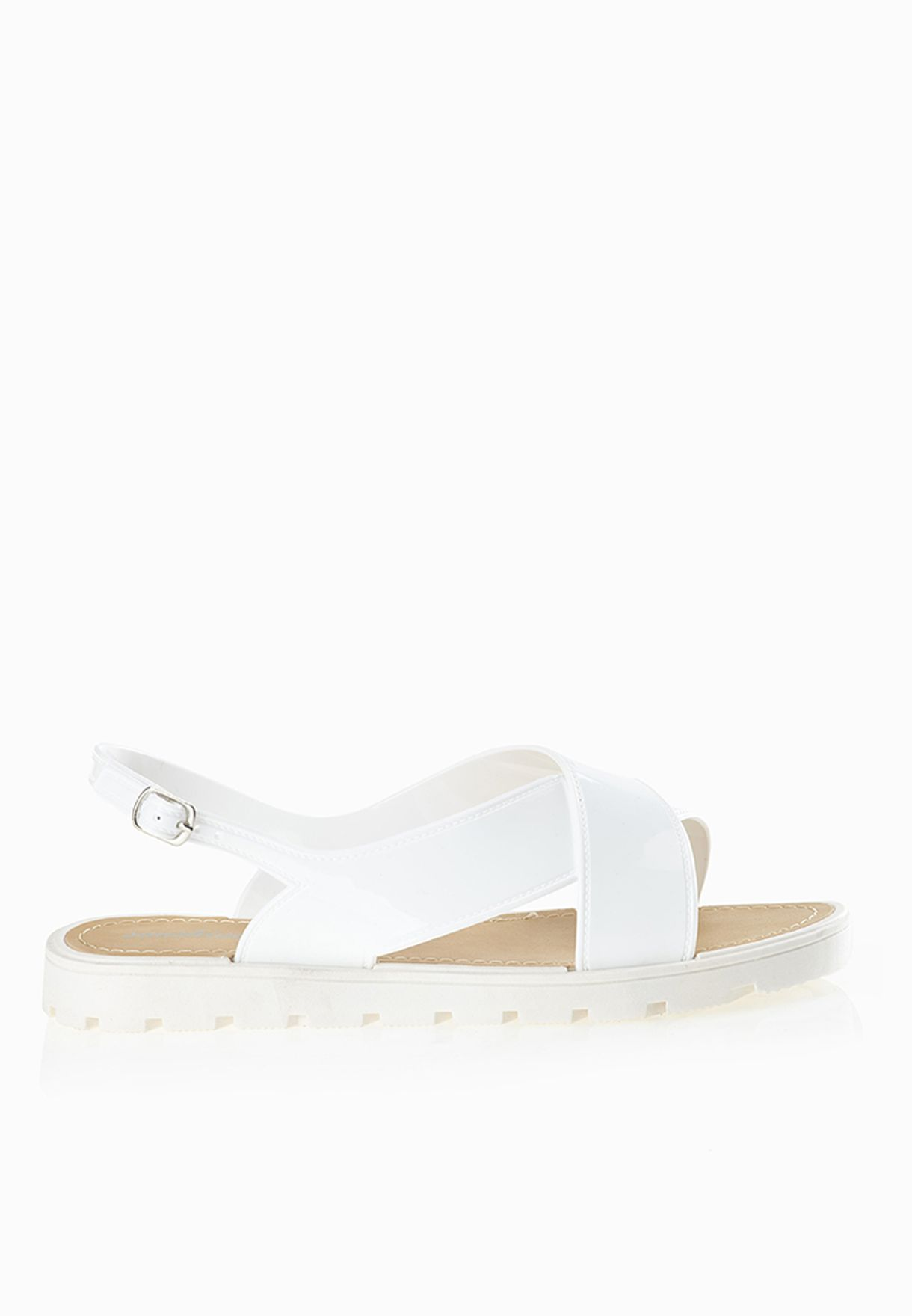 fd0e1549d1e3 Shop Sunshine white Cross Strap Jelly Sandals for Women in Oman ...