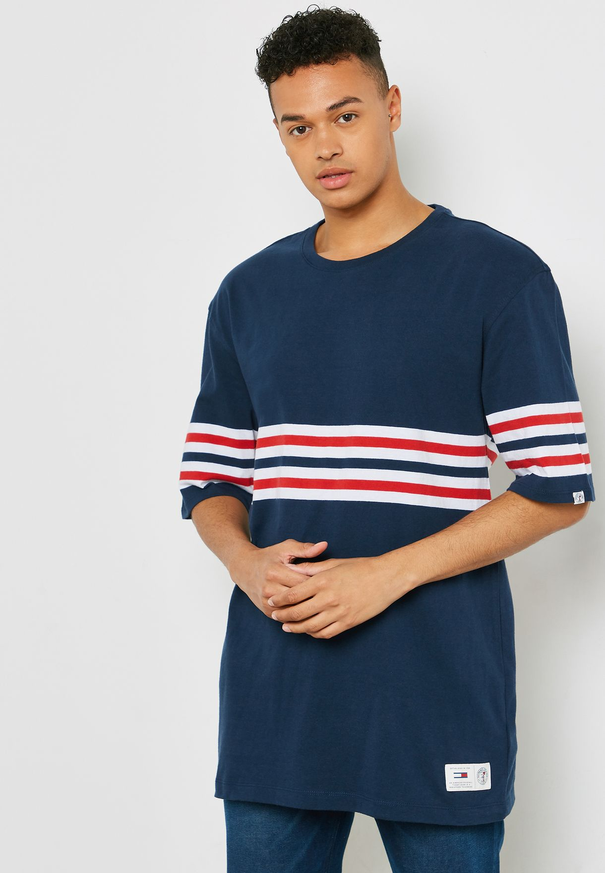 91a6eac1 Shop Tommy Jeans navy Striped T-Shirt DM0DM05102002 for Men in ...