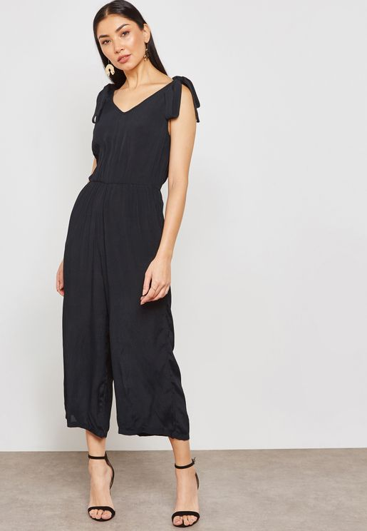 Tie Shoulder Wide Leg Jumpsuit