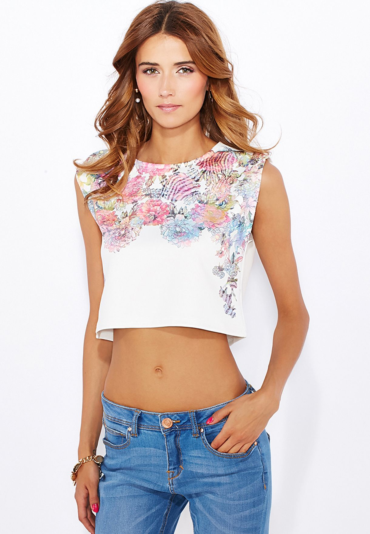 Shop Blanco White Floral Crop Top 105225401 For Women In Uae