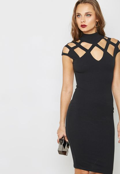 Laser Cut Yoke Dress