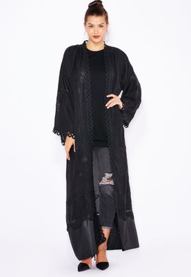 Haya's Closet Embroidered Lace Trim Abaya