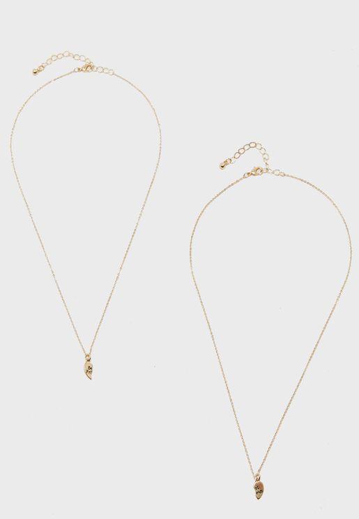 Best Friends Broken Heart Necklace Set